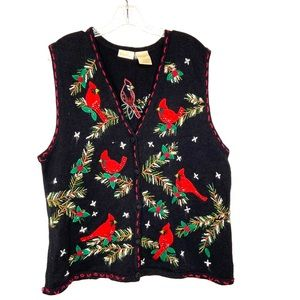 Bobbie Brooks Christmas Sweater Vest Red Birds